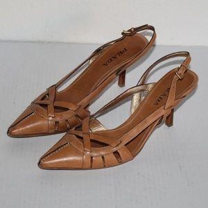👠Prada Milano Pointed Toe leather Slingback Heels